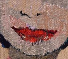 Flicka med röda läppar